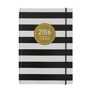 Otto A5 Day to Page 2016 Diary Black Stripe