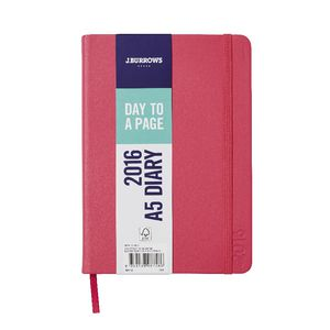J.Burrows A5 Day to Page 2016 Fun PU Diary Pink