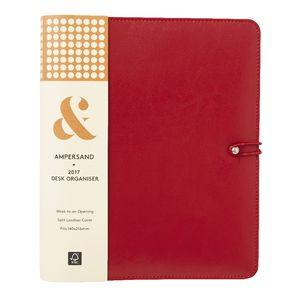 Ampersand PU Split Leather 2017 Desk Timeplanner Cover Red