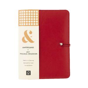 Ampersand Split Leather 2017 Personal Timeplanner Cover Red
