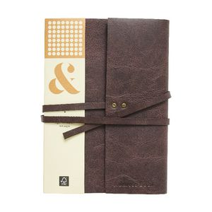 Ampersand A5 Vintage Leather Wrap Address Book Brown