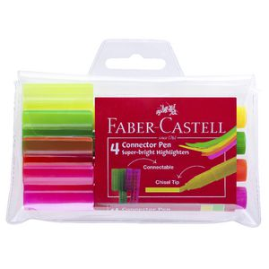 Faber-Castell Connector Pen Highlighters Assorted 4 Pack