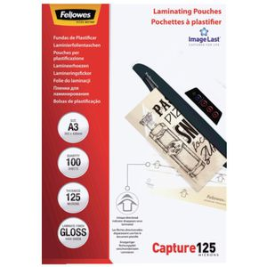 Fellowes A3 125 Micron Laminating Pouch Gloss 100 Pack