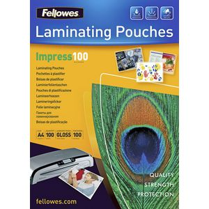 Fellowes A4 100 Micron Laminating Pouch Gloss 100 Pack