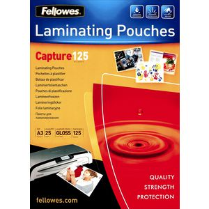 Fellowes A3 125 Micron Laminating Pouch Gloss 25 Pack