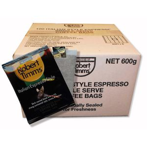 Robert Timms Italian Espresso Style Coffee Bags 100 Pack