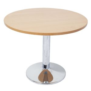 Rapidline Chrome Base Meeting Table 600mm Round Beech