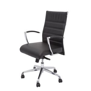 Rapidline Largo Medium Back Leather Chair Black
