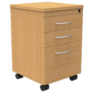 Rapid Span 3 Drawer Mobile Pedestal Beech
