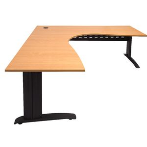 Rapidline Corner Desk 1800 x 1500 x 700mm Beech and Black