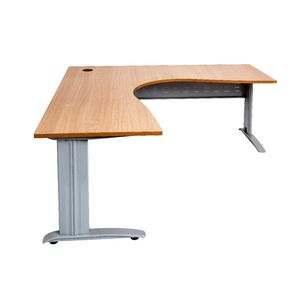 Rapidline Corner Desk 1800 x 1500 x 700mm Beech and Silver