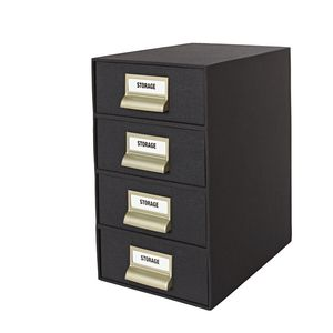 4 High Storage Drawers Cloth Black