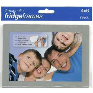 "Shot2Go Magnetic Fridge Frame 6 x 4"" Silver 2 Pack"
