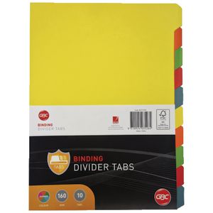 GBC A4 10 Tab Dividers Assorted at Officeworks in Campbellfield, VIC | Tuggl
