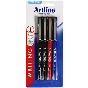 Artline 200 Fineliners Assorted 4 Pack