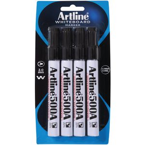 Artline 500A Whiteboard Markers Black 4 Pack