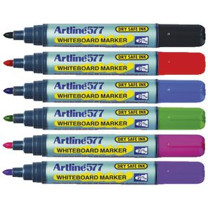 Artline 577 Whiteboard Markers Assorted Colours 6 Pack