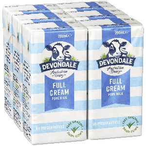 Devondale Full Cream UHT Milk 200mL 6 Pack