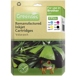 Greentec Alternative Brother LC-57 Ink Black/Colour 4 Pack