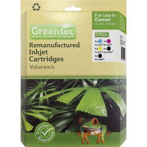 Greentec Canon CLI-521 Black and Colour 5 Ink Value Pack