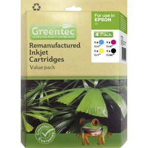 Greentec Epson 73 Black and Colour 4 Ink Value Pack
