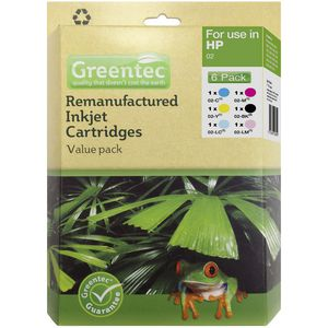 Greentec HP 02 Black and Colour 6 Ink Value Pack