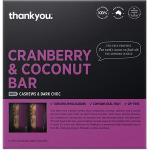 Thankyou Muesli Bar Cranberry and Coconut 35g 6 Pack