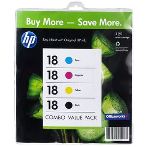 HP 18 Ink Cartridges Black and Colour 4 Pack