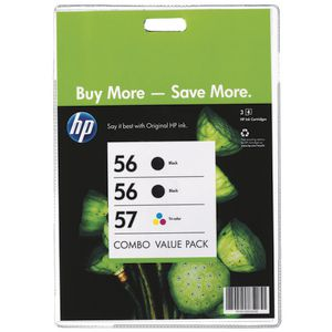 HP 56 & 57 Ink Cartridges Black and Colour 3 Pack