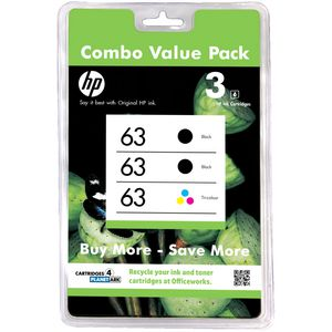 HP 63 Ink Cartridge Black and Tri Colour 3 Pack