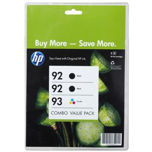 HP 92 Black and 93 Tri-Colour Ink Cartridge Value 3 Pack