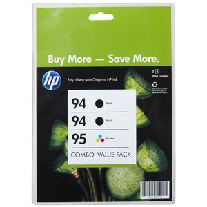 HP 94 Black and 95 Tri-Colour Ink Cartridge Value 3 Pack