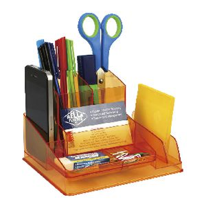 Italplast Desk Organiser Tinted Orange Officeworks