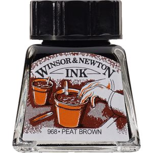 Winsor & Newton Drawing Ink 14mL Peat Brown 968