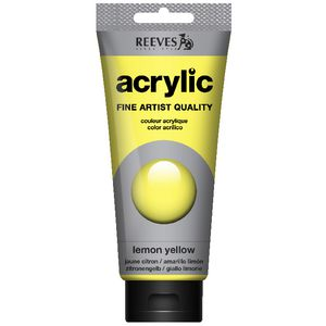 Reeves Artist Acrylic Paint 200mL Lemon Yellow