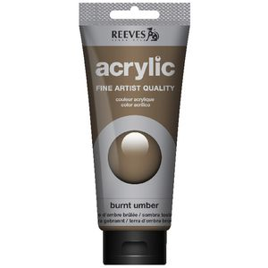Reeves Artist Acrylic Paint 200mL Burnt Umber