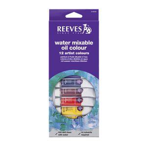 Reeves Water Mixable Oil Colour Paint Set 10mL 12 Pack