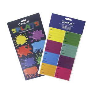 ConTact Adhesive Book Labels Bright Colours 16 Pack