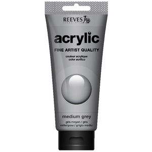 Reeves Artist Acrylic Paint 200mL Medium Grey