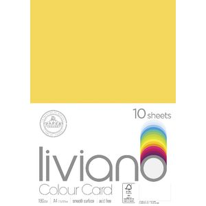 Liviano A4 Colour Card 180gsm Lemon 10 Pack