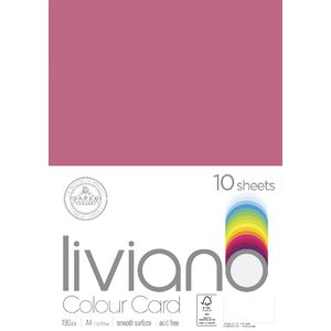 Liviano A4 Colour Card 180gsm Fuchsia 10 Pack