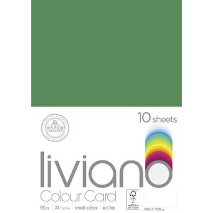 Liviano A4 Colour Card 180gsm Green 10 Pack