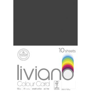 Liviano A4 Colour Card 180gsm Black 10 Pack