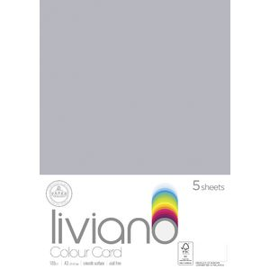 Liviano A3 Colour Card 180gsm Grey 5 Pack