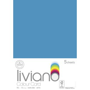 Liviano A3 Colour Card 180gsm Turquoise 5 Pack