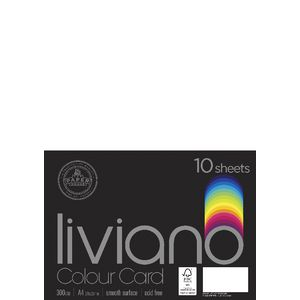 Liviano A4 Colour Card 300gsm White 10 Pack