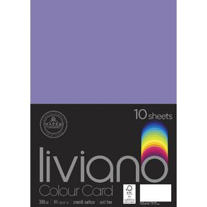 Liviano A4 Colour Card 300gsm Purple 10 Pack
