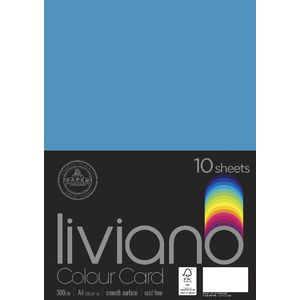 Liviano A4 Colour Card 300gsm Turquoise 10 Pack