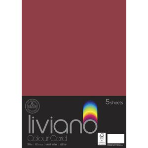 Liviano A3 Colour Card 300gsm Red 5 Pack