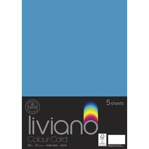 Liviano A3 Colour Card 300gsm Turquoise 5 Pack